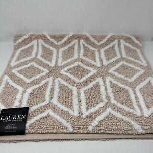 Lauren RALPH LAUREN Bath Rug Peach White 21x34 100% Cotton Anti-Slip