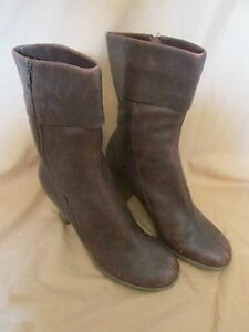 "Women's Aerosoles ""Ruf N Tumble"" Brown Leather Boots Side Zip Mid Calf Size 10"