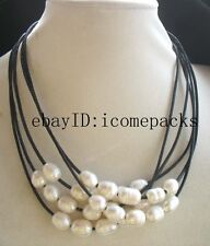 "5strands freshwater pearl white egg & black leather necklace 18"" nature beads"