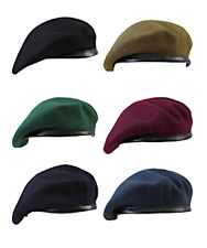 BRITISH ARMY CADET STYLE MILITARY BERET 100% WOOL WITH LEATHER BINDING SOLDIER
