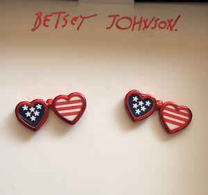 Betsey Johnson Patriotic American Double Heart Shaped Flag Sunglass Earrings NIB