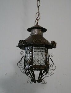 Antique Vintage Lantern Black Iron Pendant Chandelier Scrolled Glass Small