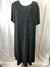 Jessica Howard Woman Black Sparkle Dress  Glitter 18W Stretch Swing Cocktail