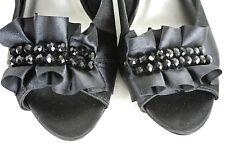 Coach and Four Black Satin Formal Pumps 7.5 M Ruffled Jeweled Peep toe *1008