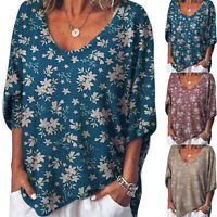 Womens Plus Size Retro Floral Long Sleeve V Neck Tunic Tops T Shirt Baggy Blouse