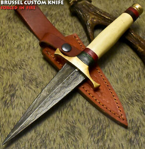 Brussel Rear Handmade Damascus Steel Camel Bone Hunting Dagger Knife