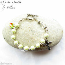 ✫ MAGNETIC HEMATITE✫   PALE GREEN HANDCRAFTED ROSARY BRACELET