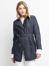 Gap Women's Fall Indigo Denim Belted Trench Coat Nanotex Jacket Sz. L Large NWT