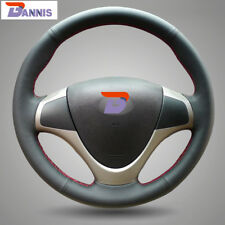 BANNIS Black Leather Steering Wheel Cover for Hyundai i30 2007-2011