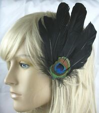jet black fascinator millinery peacock feather hair clip wedding piece ascot
