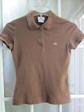 Authentic Lacoste Brown Short Sleeve Polo Shirt SZ Women 36 **Excellent**