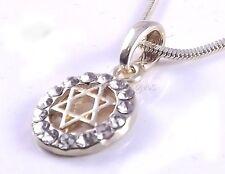 Star Of David Magen Judaica Necklace Pendant Kabbalah Jewelry Gold With Stones