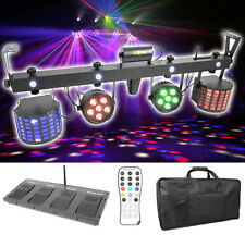 LED & Laser Komplett Lichtanlage! DMX IR-Fernbedienung Tasche Funk-Fußschalter!