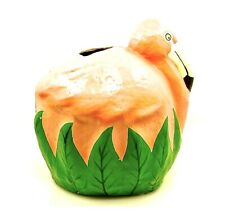 Pink Flamingo Tissue Holder,Pink Flamingo,Green Leaves,Clay Art,1993