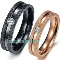 Stainless Steel Eternity Polished Rings Men's Women's Engagement Wedding Band