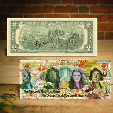 WIZARD OF OZ Dreams Pop Art Two-Dollar Bill HAND-SIGNED by Rency with Holder