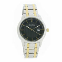 Bulova Men's Quartz Black Dial Two-Tone Bracelet 39mm Watch 98B237