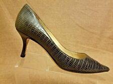 Jimmy Choo Women Shoes Gray Snake Print Pumps Stiletto Pointy Toe Heels Sz 35.5