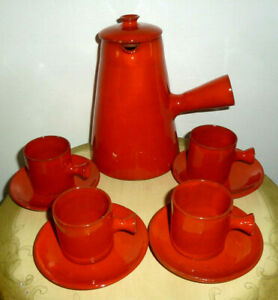1950s FRENCH Charles Voltz Vallauris Pottery RED COFFEE SET, Pot, 4 Cups Saucers