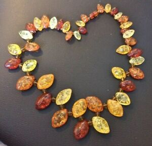 Ladies Fashion Necklace Faux Amber Chunky Necklace Clubbing Party Gift J19