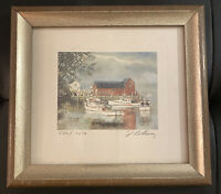 James Colway Ocean Harbor Scene Watercolor Signed, Framed, Limited Ed