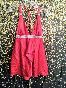 Victoria's Secret Medium Cherry Red Silky Nightie Rhinestone Band