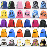 School Drawstring Book Bag Sport Gym Swim PE Dance Unisex Girls Boys Backpack