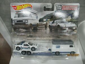 HOTWHEELS TEAM TRANSPORT FORD RS200 AND RALLY VAN ALLOY RUBBER TYRES