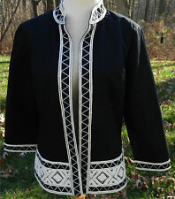 Chico's Black LS Blazer White Embroidery Edging 100% Cotton Open Front Lined 2 M