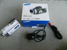 Samsung Hmx-F90 Hi Def White Camcorder Hd 52x Zoom w/battery charger & Cable