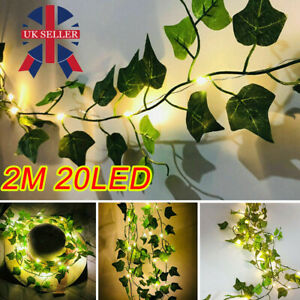 2M/10M LED Leaves Ivy Leaf Garland Fairy String Lights Party Garden Decor Lamp W