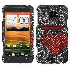 For HTC EVO 4G LTE Crystal Diamond BLING Hard Case Phone Cover Curve Heart