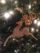 "Nice New Kurt Adler 4.5"" Rose Gold Glitter Prancing Reindeer Christmas Ornament!"