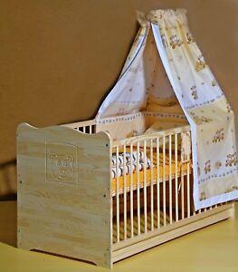 Babybett Kinderbett Komplett Set Gitterbett UMBAUBAR 70x140  5 Farben Massivholz