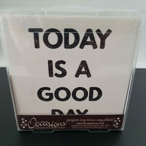 Thirstystone Occasions Coasters NEW Set 4 Today is a Good Day Cream Black Cork