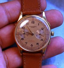 CHRONOMETRE SUISSE 18K GOLD watch chronograph working condition,serviced 38mm