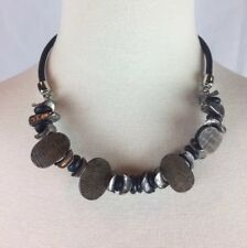 "Strung Beaded Silver Tone Necklace Signed 18-21"" Long Chicos Black Leather Funky"
