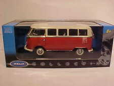 1963 VW T1 Samba Bus Volkswagen Van Die-cast Car 1:18 Welly 10 inches Rust Red