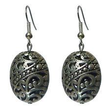 Boucles D'oreilles ethnique Argentées perle ajourée Argent Tibétain