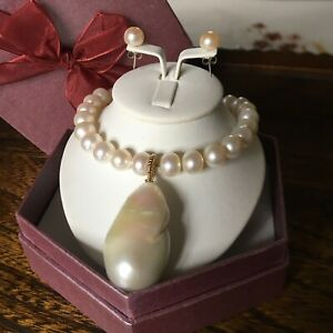 ENORMOUS FRESHWATER PEARL NECKLACE    14K Yellow Gold Ball Clasp Pearl Strand