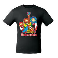 Men's Black T-Shirt with Matryoshkas Nesting Dolls Balalaika Print