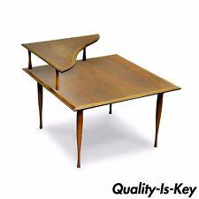 Vtg Mid Century Danish Modern Walnut 2 Tier Corner Coffee Table Hourglass Legs