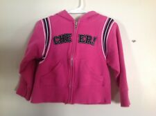 Little Girls SZ XS 4-5 Cheer Zippered Hoodie  Pink w Black Letters White Trim