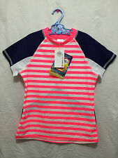 BNWT Girls Sz 8 Target Brand Fluro Pink Stripes Short Sleeve Rash Vest UPF 50+