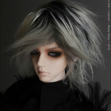 """Dollmore 1/3 BJD SD wig  (8-9)"""" Artificial Mohair Two Tone style wig - Black"""