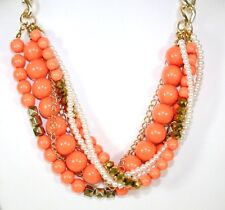 D28 Twisted Mixed Bead Coral Orange Faux Pearl Necklace Earring Set Boutique