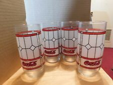 Vintage~Coca-Cola Drinking Tiffany Style Stained Frosted Glasses (Set of 4)
