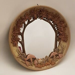 Syl Macro Pottery - Stoneware Round Wall Mirror Mushroom Forest Design (A14)
