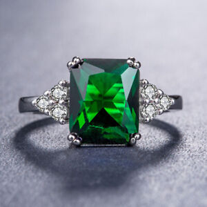 zd0005 Handmade 100% Natural Emerald 1.30ct Size US 7 14K White Gold ring b916