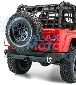 """Rear Bumper+Tailgate Tire Carrier+2""""Hitch+Dual Plate for 97-06 Jeep Wrangler TJ"""